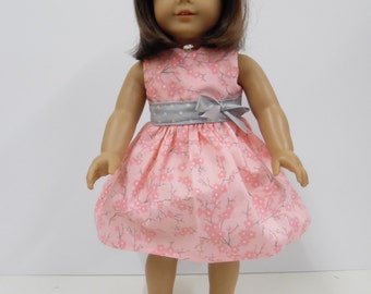 American Girl Pink and Grey Sundress with Headband
