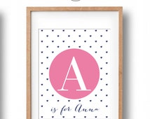 Personalised Name Print, Heart Patterned Baby Name Printable for your nursery wall decor