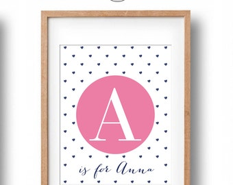 Personalised Name Print, Custom Letter with Hearts Name Print, Nursery Name Print, Nursery Decor, Art print for girls, nursery wall decor
