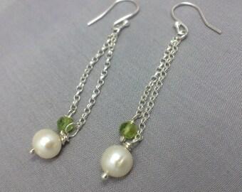 Green Peridot and Pearl Long Chain Earrings, Sterling Silver Long Dangle Earrings, White Pearl Earrings