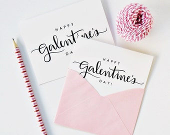 Happy Galentine's Day Card / Handlettering, Script, Valentine's Day, Friendship, Love Card / A1 or A2 / Charitable Donation