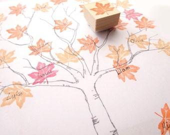 Maple leaf stamp, Wedding tree stamp, DIY wedding, Autumn wedding, Orange leaf, Kawaii stationery, Scrapbooking, Rubber stamp, Custom stamp