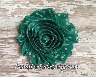 SALE Green and White Polkadot Shabby Chic Flower Hair Clip, Girls Hair Bow, Flower Alligator Clip, Hair Accessory, Barrette, St Patricks Day