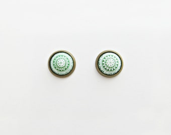 Green Mosaic Post Earrings // Choose Your Color