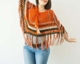 Orange Coat Crochet Poncho Women poncho crochet shaw Coat Crochet Cape Boho Poncho Hippie Poncho Jacket Fringe Poncho Retro Poncho  Shawl