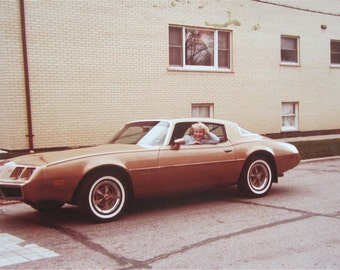 A Hot Girl and Her New Firebird 1970's Snapshot Photo - Free Shipping