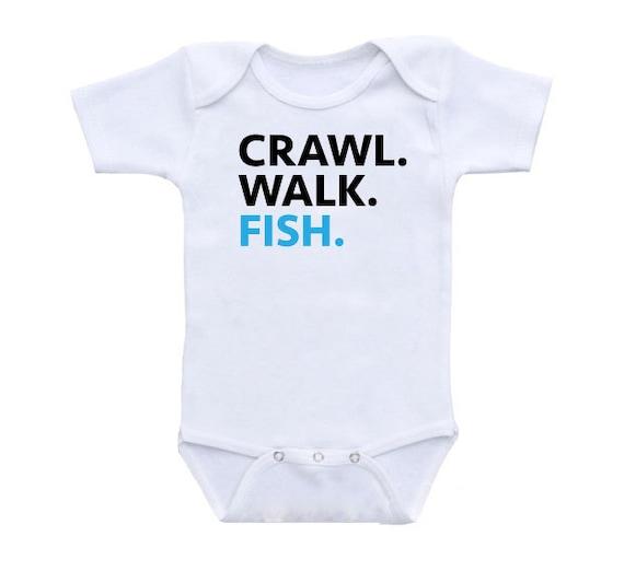 Crawl walk fish onesie t shirt fishing onesie fishing shirt for Fishing shirt onesie