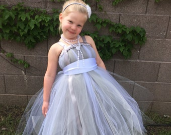 Silver Flower Girl Dress, silver and white flower girl dress, flower girl dress, wedding dress, tea length flower girl dress, silver dress