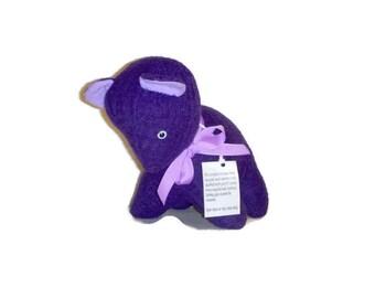 Handmade Purple Woolly Bear - Felted Sweater Stuffed Animal - Upcycled Puppy Dog Plushie - Eco Friendly Plush Toy