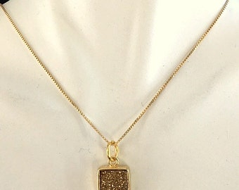 Minimalist Gold Titanium Square Charm/Pendant Necklace - Choice of Gold Chains