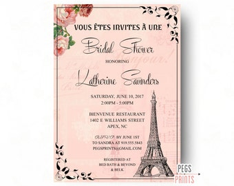 Paris Bridal Shower Invitation (Printable) Paris Themed Invitations - Parisian Bridal Shower Invitations - Paris Theme Bridal Invitation
