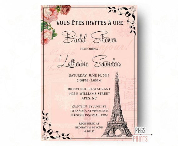 Paris bridal shower invitation printable paris themed invitations il570xn filmwisefo