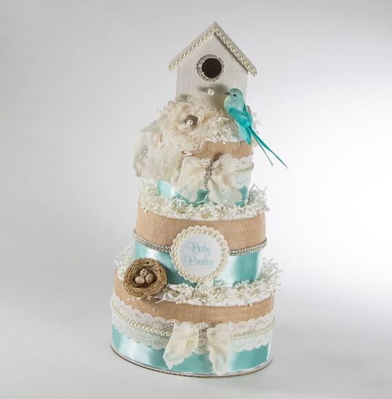 Diaper Cake - Diaper Cakes - Birdhouse Diaper Cake - Shabby Chic Baby Shower - Baby Gift - Baby Shower Gift - Baby Shower Diaper Cake