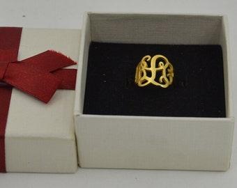 18k gold monogram ring,Personalized Monogram ring.Wedding gift,Birthday gift