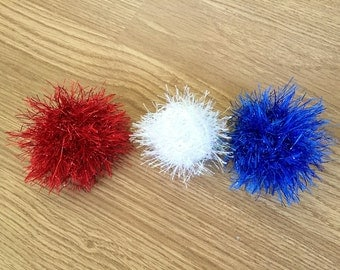 Patriotic Catnip Cat Ball Toys Set of 3 Knit Red White Blue Optional Bell, Catnip, Crinkle