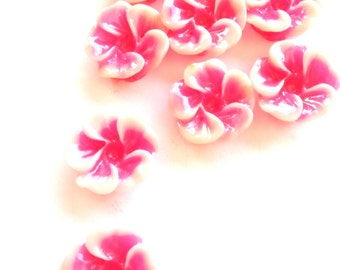 Pink Tropical Hibiscus Flower Cabochons Set of 9