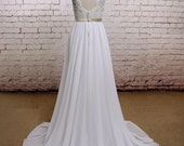 V-Back Wedding Dress with Chiffon Skirt, A-line Style Bridal Gown,Open Back Wedding Gown with Champagne Lining of Bodice