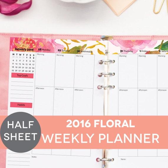 Weekly Calendar Half Sheet : Weekly planner floral printable half by perennialplanner