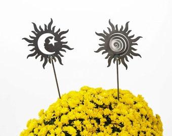 Sun and Moon Celestial Garden Art Stake