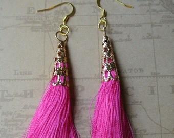 Hot Pink Tassel Time Earrings