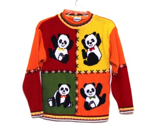 Vintage 80s ugly sweater Panda Bear primary colors red