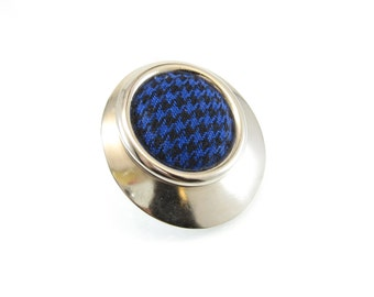 Vintage Houndstooth Brooch, Blue Black, Material, Round, Silver Tone