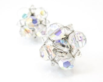 Vintage Glass Bead Earrings, Iridescent, Cluster, Clip Ons