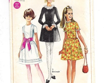 1960s Simplicity #7732, Young Junior/Teens' Dress in Two Lengths, UNCUT FF Sewing Pattern, Size 9/10 bust 30-1/2