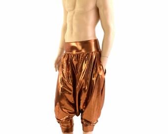 Unisex Drop Crotch Harem Pants with Pockets in Copper Mystique Metallic  Festival Rave Lounge Pants 152848