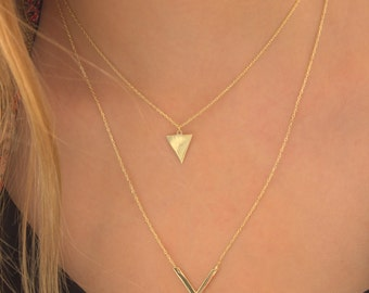 V Necklace- Triangle Necklace -Gold -Rose-Sterling Silver-Geometrical Necklace DOUBLE Bar Necklace-