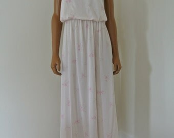 Lorraine Nightgown Pink Robe Paisley Damask Ultra Soft Hippie Gown/ M