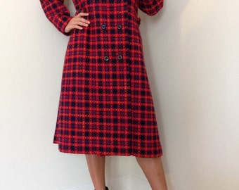 Wool Plaid Coat Red Pink Tartan Mod Retro by Tailorbrooke Drapers Union Made/M