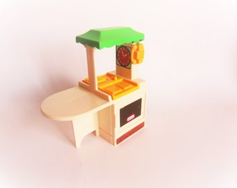 Vintage Fisher Price Little Tikes Tykes Miniature Doll House Dollhouse Accessory Green Yellow Kitchen with Sink Oven Table 1990s 1980s
