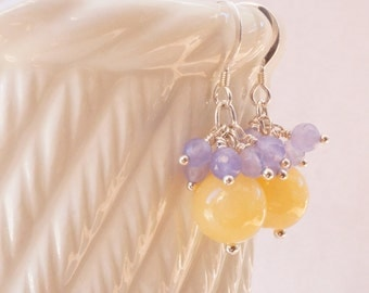 Yellow and lilac earrings, lemon jade earrings, amethyst earrings, gemstone earrings, sterling silver earrings, gemstone cluster earrings