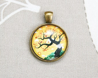 Tree of life dawn dusk round pendant any picture