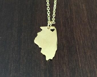 Illinois Necklace, Illinois, gold Illinois necklace, Illinois state necklace, state necklace, state, necklace, gold necklace