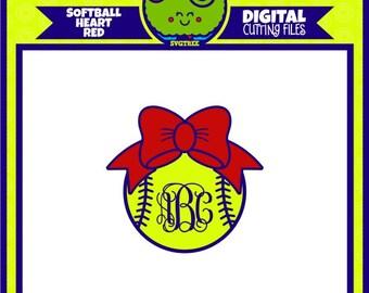 Softball SVG Softball Monogram SVG Bow Monogram SVG Commercial Free Cricut Files Silhouette Files Digital Cut Files svg cut files