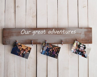 Our great adventures photo display, family vacation, personalize, picture frame, wood