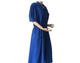 Sky Blue 80s Vintage Short Sleeve Shirt Dress Size M E D I U M