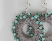 Trendy MINT earrings. Natural linen earrings. Round MINT earrings. Dangle & Drop Earrings. Textile Jewelry. Elegant earrings.