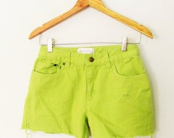 Vintage 1990s Lime Green Jean Cutoff Shorts