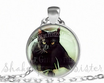Cat Necklace - Cat Pendant - Black Cat - Gold Eyes - Art Pendant - Black Cat Jewelry - Black Cat Pendant - Art Jewelry