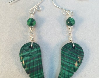 Angel Wing Earrings, Malachite Earrings, Carved Angel Wings, Malachite Wings, Semiprecious Stone, Natural Stone, Choice of Stone, Healing