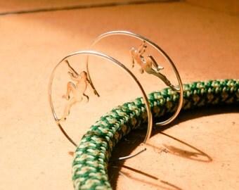 Climber silver earrings