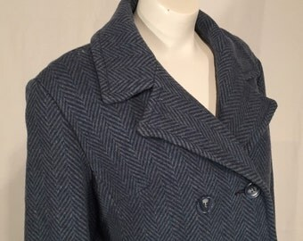 Vintage Women's Dark Blue Heathered Blue Herringbone Swing Coat Seventies 70s Sherlock Plus Size 1X 70s Seventies