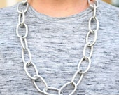 Silver Textured Large Oval Link Chain Necklace with Lavender Suede Cord