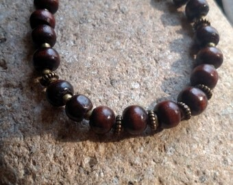 Wood bead braclet with bronze accents