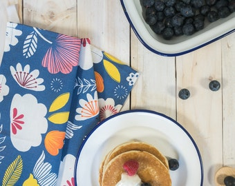 Printed tea towel, deep blue floral meadow design