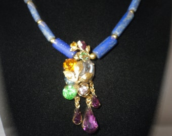 Exquisite Single Strand Lapis Crystal Pendant Necklace*****.