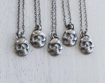 Skull Necklace, Sterling Silver Skull Necklace, Silver Skull Jewelry